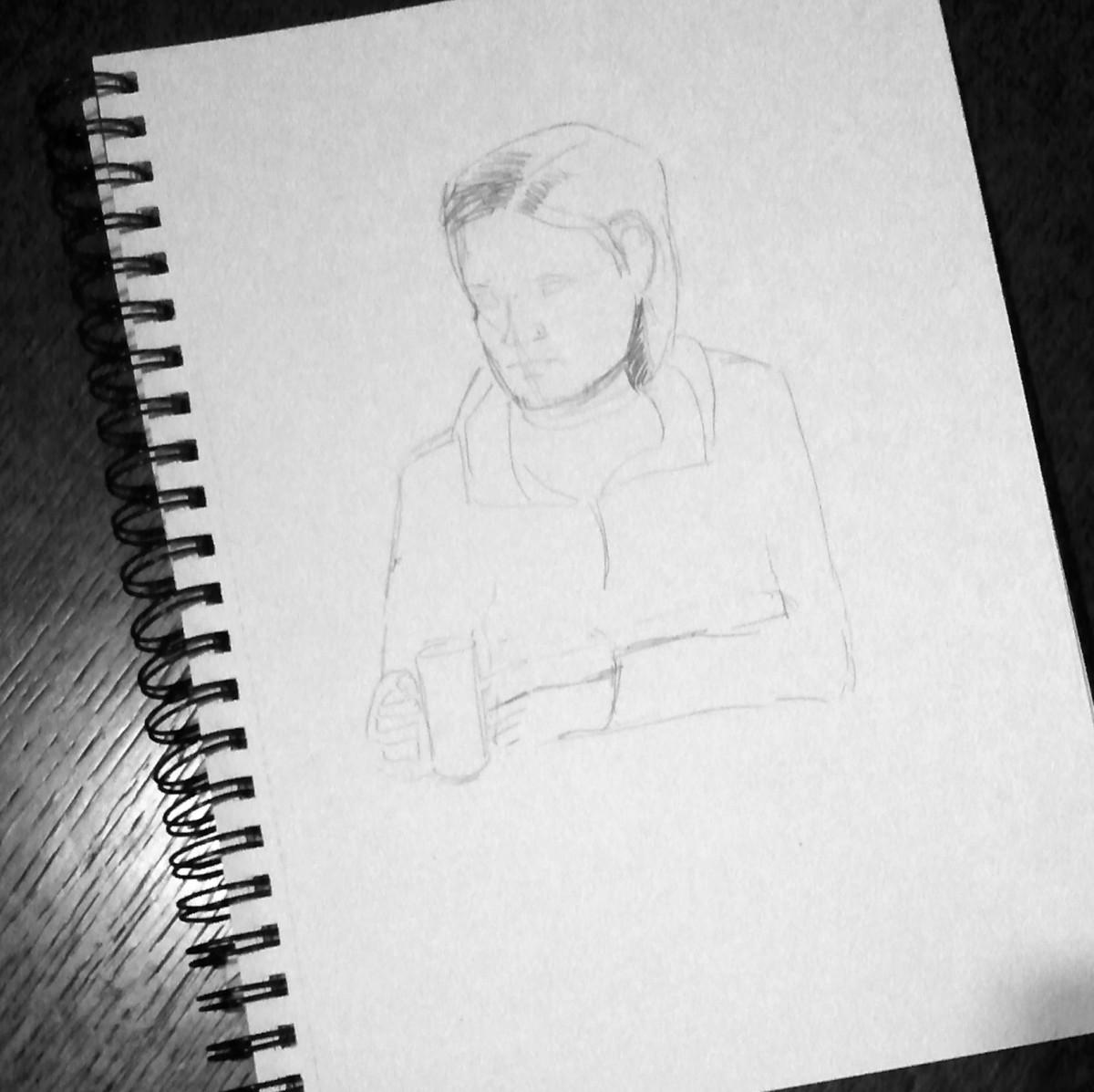 faint sketch in a sketch book